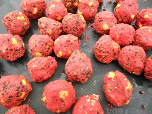 Balls of bait ready to go