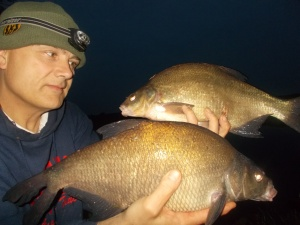 A brace of bream as both rods went off at the same time