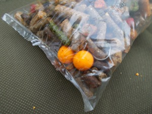 Stand-out boilies in PVA bag ready to go