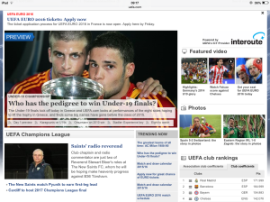 I even made the home page of the UEFA website