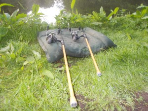 Short session, rods laid out on the mat