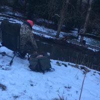 Fishing In The Snow On The River Stour