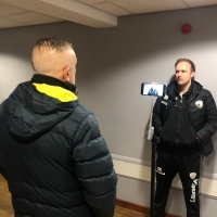 In A Corridor At Park Hall, Interviewing Scott Ruscoe After The Game Against Bangor City